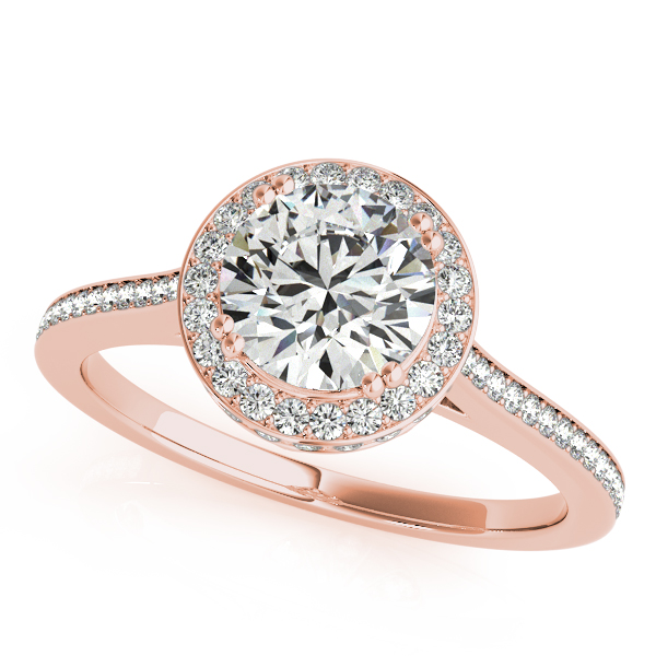 10K Rose Gold Round Halo Engagement Ring P.K. Bennett Jewelers Mundelein, IL