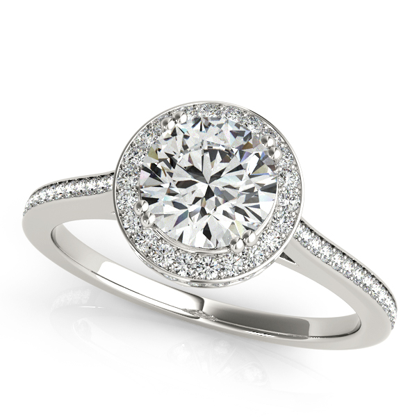 18K White Gold Round Halo Engagement Ring Designer Jewelers Westborough, MA