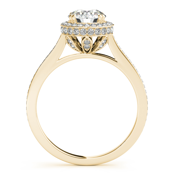 14K Yellow Gold Round Halo Engagement Ring Image 2 Parkers' Karat Patch Asheville, NC