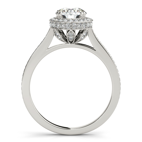 18K White Gold Round Halo Engagement Ring Image 2 Designer Jewelers Westborough, MA