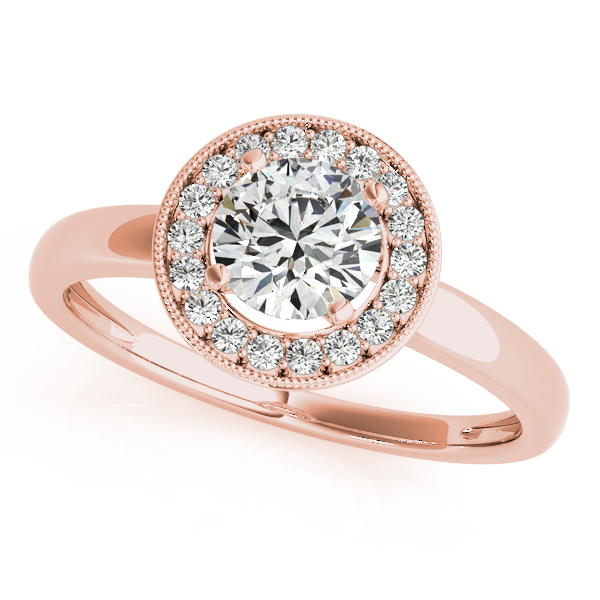 14K Rose Gold Round Halo Engagement Ring Robert Irwin Jewelers Memphis, TN