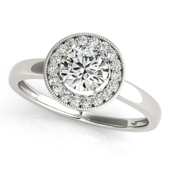 18K White Gold Round Halo Engagement Ring JWR Jewelers Athens, GA