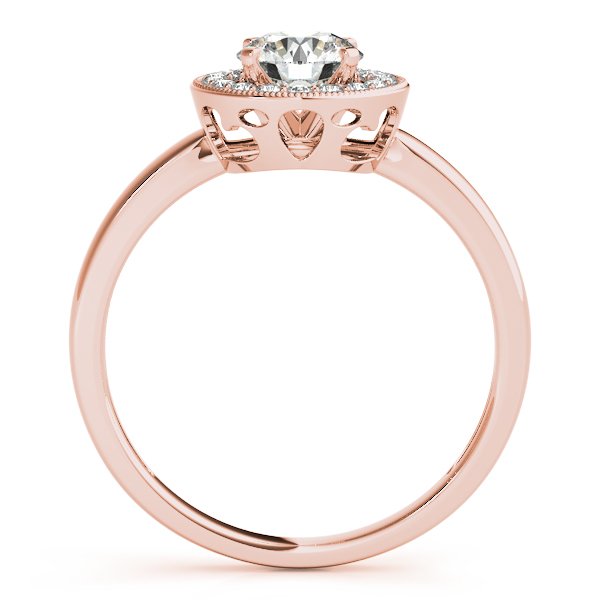 18K Rose Gold Round Halo Engagement Ring Image 2 Couch's Jewelers Anniston, AL