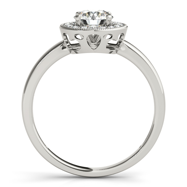 18K White Gold Round Halo Engagement Ring Image 2 Milan's Jewelry Inc Sarasota, FL