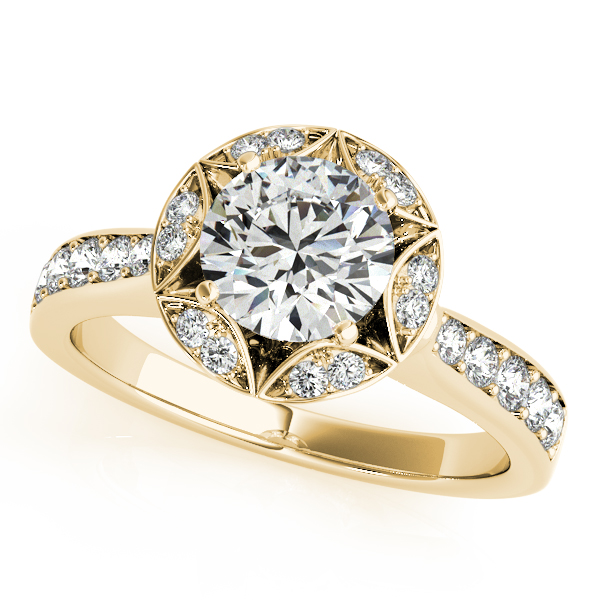 18K Yellow Gold Round Halo Engagement Ring Ware's Jewelers Bradenton, FL