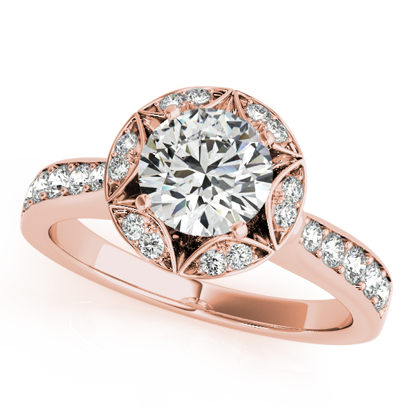 18K Rose Gold Round Halo Engagement Ring P.K. Bennett Jewelers Mundelein, IL