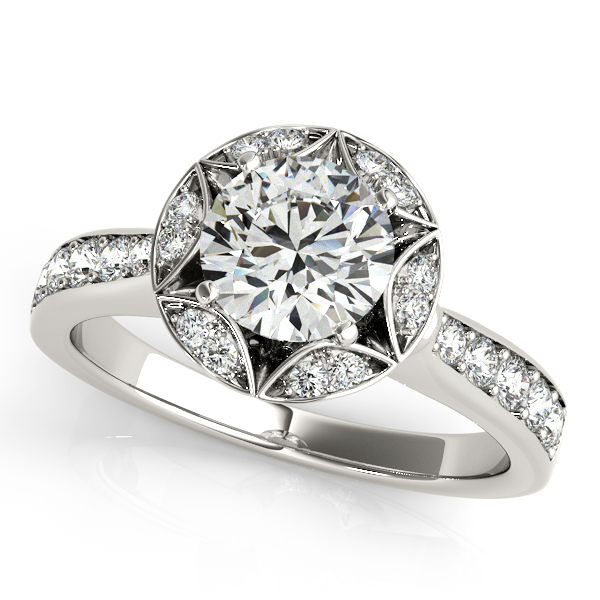Semi-Mouts - 18K White Gold Round Halo Engagement Ring