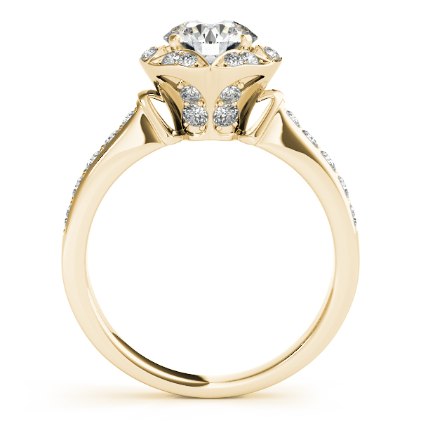 Semi-Mouts - 10K Yellow Gold Round Halo Engagement Ring - image 2