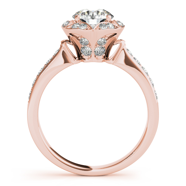14K Rose Gold Round Halo Engagement Ring Image 2 The Ring Austin Round Rock, TX