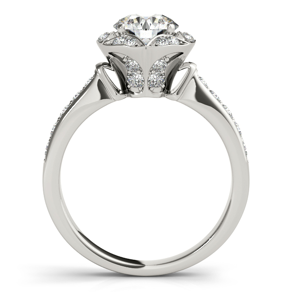 Semi-Mouts - 18K White Gold Round Halo Engagement Ring - image #2