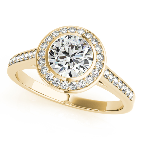 14K Yellow Gold Round Halo Engagement Ring Ware's Jewelers Bradenton, FL