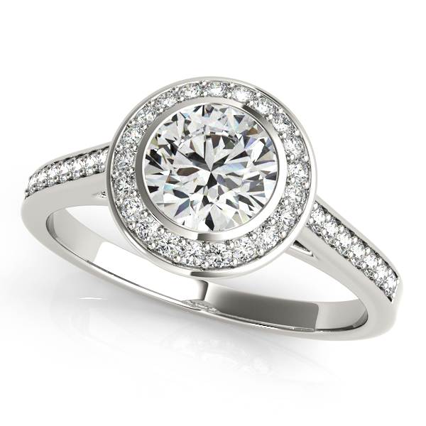 14K White Gold Round Halo Engagement Ring JWR Jewelers Athens, GA
