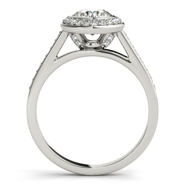 14K White Gold Round Halo Engagement Ring Image 2 JWR Jewelers Athens, GA