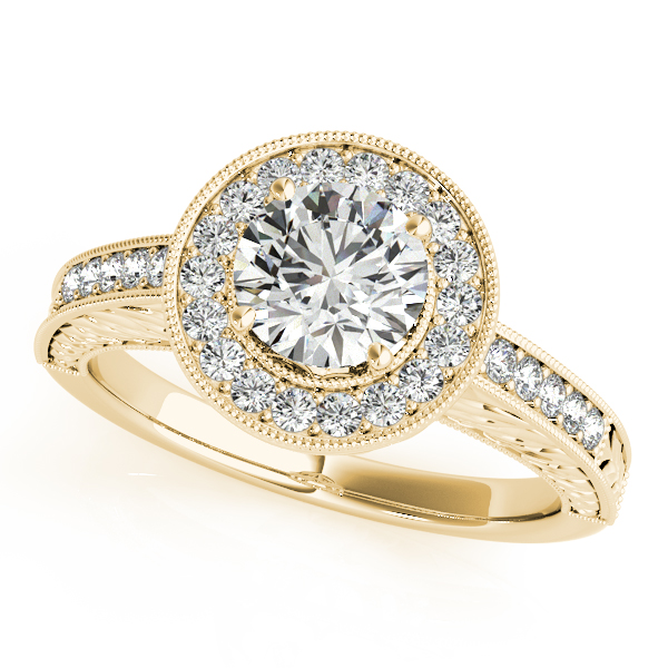 18K Yellow Gold Round Halo Engagement Ring Champaign Jewelers Champaign, IL