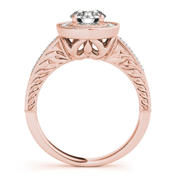 14K Rose Gold Round Halo Engagement Ring Image 2 Parkers' Karat Patch Asheville, NC