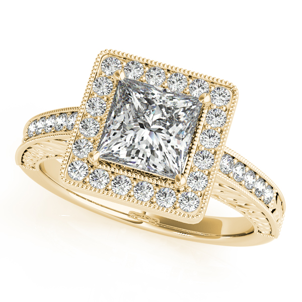 18K Yellow Gold Halo Engagement Ring Champaign Jewelers Champaign, IL