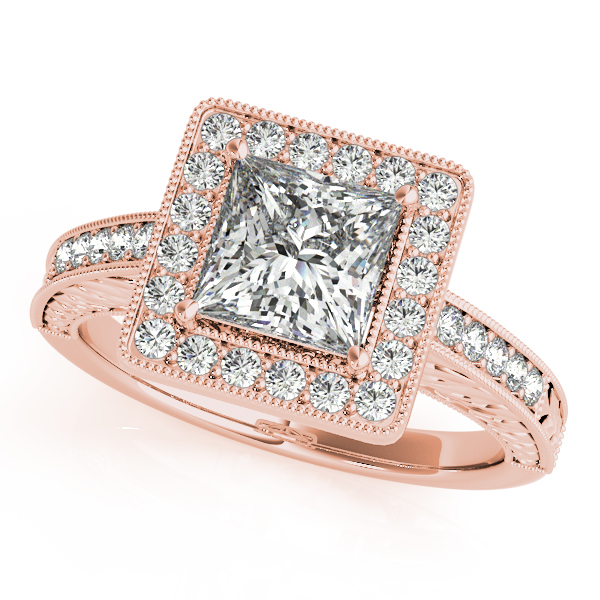10K Rose Gold Halo Engagement Ring The Ring Austin Round Rock, TX