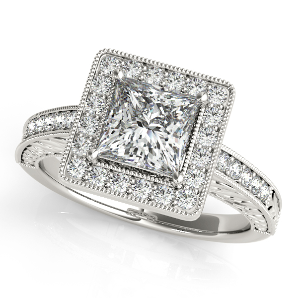 18K White Gold Halo Engagement Ring Champaign Jewelers Champaign, IL