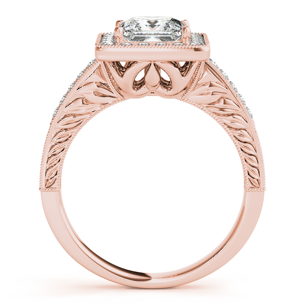 14K Rose Gold Halo Engagement Ring Image 2  ,