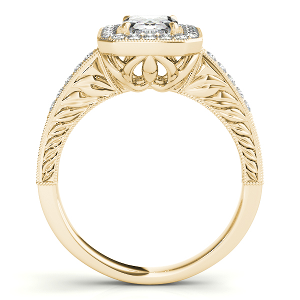 18K Yellow Gold Emerald Halo Engagement Ring Image 2  ,