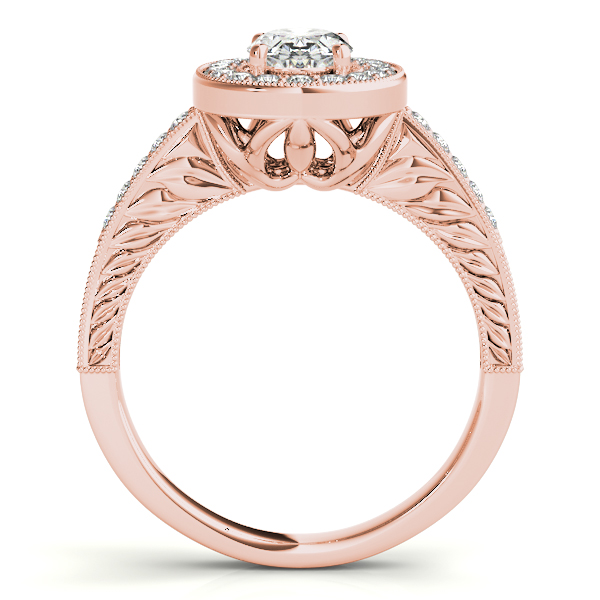Diamond Semi-Mount Rings - 14K Rose Gold Oval Halo Engagement Ring - image #2