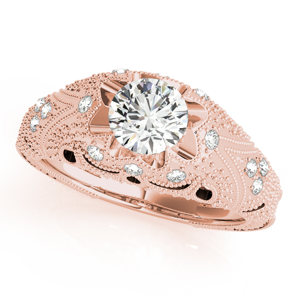 10K Rose Gold Antique Engagement Ring Brax Jewelers Newport Beach, CA
