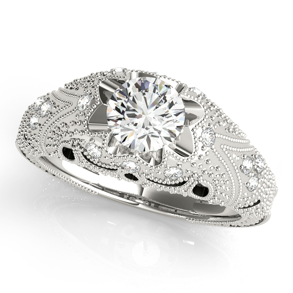 Engagement Rings - 14K White Gold Antique Engagement Ring
