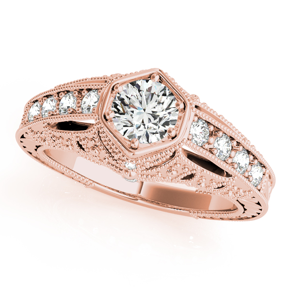 10K Rose Gold Antique Engagement Ring The Ring Austin Round Rock, TX