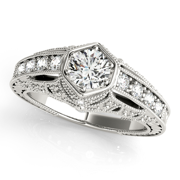 18K White Gold Antique Engagement Ring Enhancery Jewelers San Diego, CA