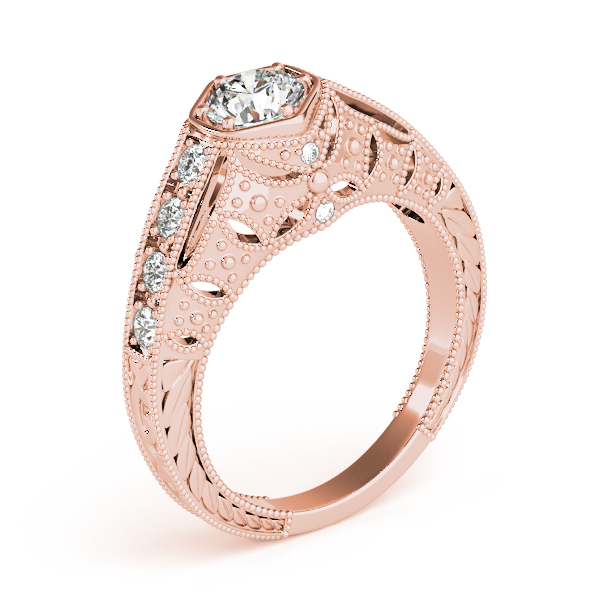 10K Rose Gold Antique Engagement Ring Image 3 The Ring Austin Round Rock, TX