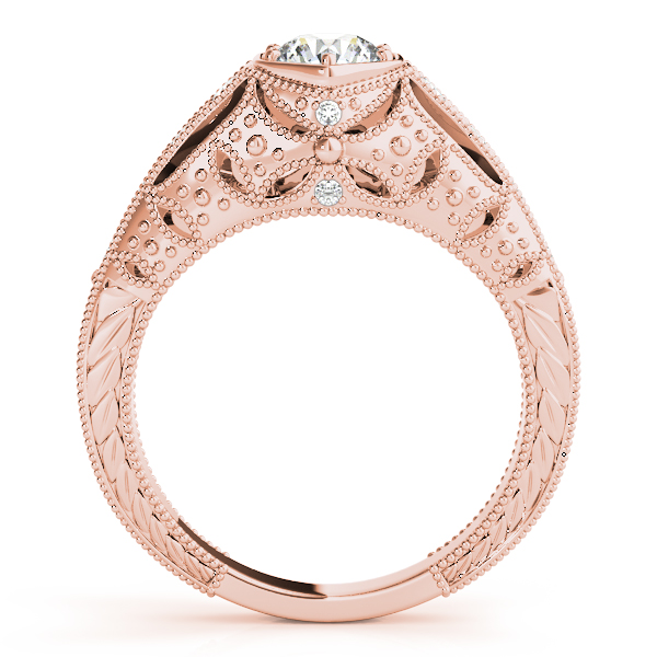 10K Rose Gold Antique Engagement Ring Image 2 The Ring Austin Round Rock, TX