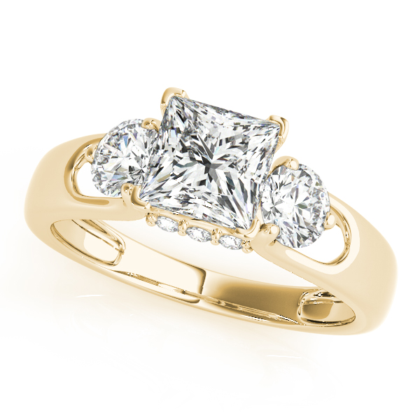 18K Yellow Gold Three-Stone Round Engagement Ring Rachel & Victoria Rancho Santa Fe, CA