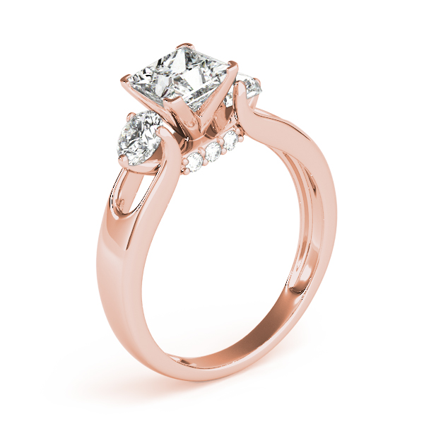 18K Rose Gold Three-Stone Round Engagement Ring Image 3  ,