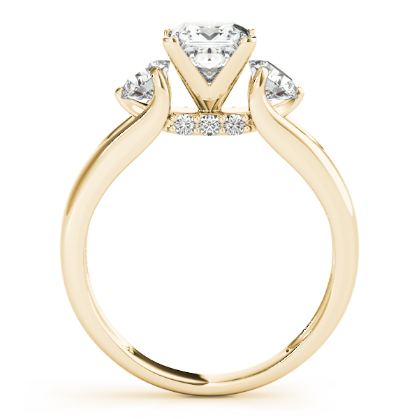 18K Yellow Gold Three-Stone Round Engagement Ring Image 2 Miner's North Jewelers Traverse City, MI