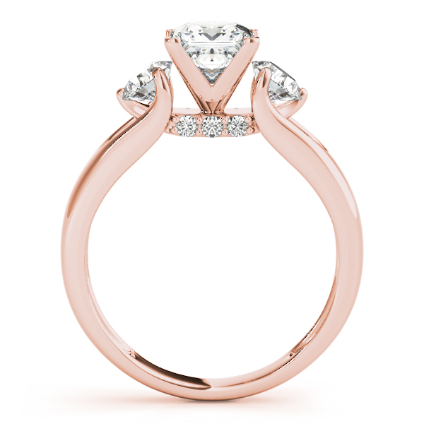 18K Rose Gold Three-Stone Round Engagement Ring Image 2 John Herold Jewelers Randolph, NJ