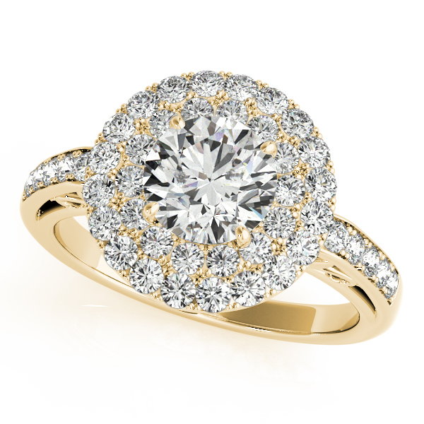 Diamond Semi-Mount Rings - 18K Yellow Gold Round Halo Engagement Ring