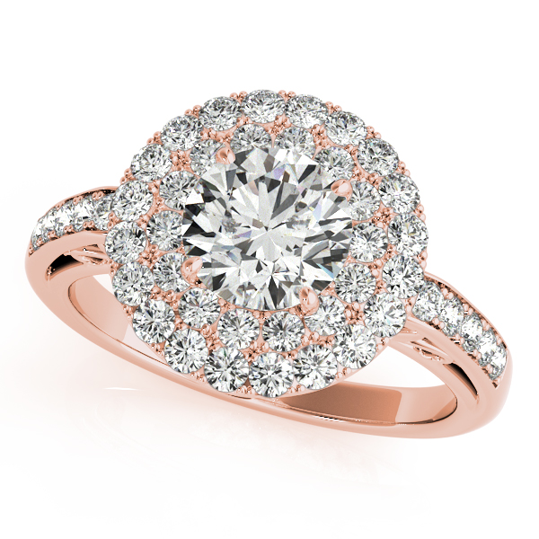 18K Rose Gold Round Halo Engagement Ring Ken Walker Jewelers Gig Harbor, WA