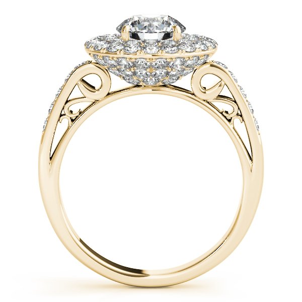 Diamond Semi-Mount Rings - 18K Yellow Gold Round Halo Engagement Ring - image 2
