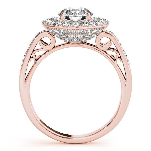 10K Rose Gold Round Halo Engagement Ring Image 2 Karadema Inc Orlando, FL
