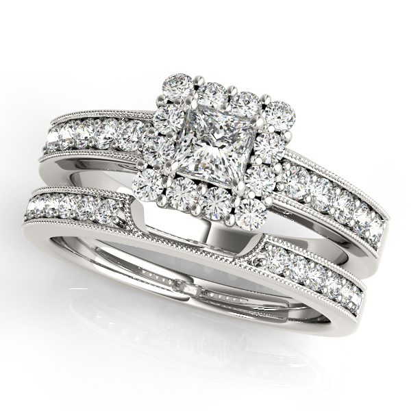 Engagement Rings - 10K White Gold Halo Engagement Ring - image 3