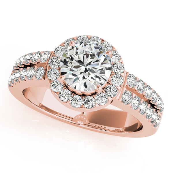 14K Rose Gold Round Halo Engagement Ring - This 14K rose gold round halo engagement ring can accommodate a round diamond shape of 0.75 carats. Includes 40 diamonds weighing 0.40 carats total. Available in 10K, 14K, and 18K white, yellow, or rose gold, and platinum. Center diamond not included. Matching wedding band sold separately.