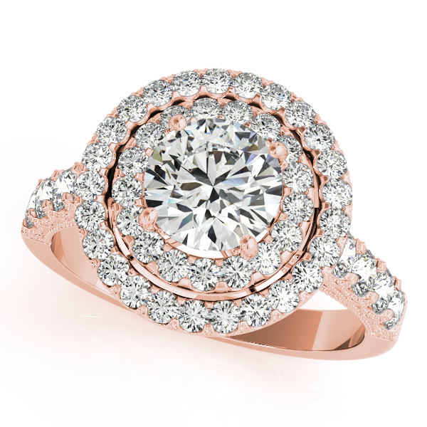 10K Rose Gold Round Halo Engagement Ring - This 10K rose gold round halo engagement ring can accommodate a round diamond shape of 2.00 carats. Includes 52 diamonds weighing 1.72 carats total. Available in 10K, 14K, and 18K white, yellow, or rose gold, and platinum. Center diamond not included. Matching wedding band sold separately.