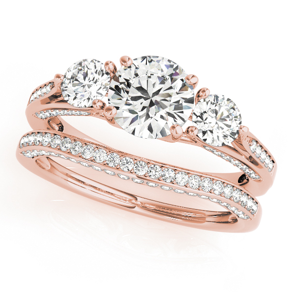 Engagement Rings - 18K Rose Gold Three-Stone Round Engagement Ring - image 3