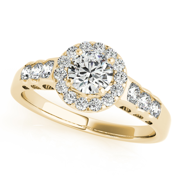 10K Yellow Gold Round Halo Engagement Ring - This 10K yellow gold round halo engagement ring can accommodate a round diamond shape between 0.25 and 3.00 carats. Includes 20 diamonds weighing 0.46 carats total. Available in 10K, 14K, and 18K white, yellow, or rose gold, and platinum. Center diamond not included. Matching wedding band sold separately.
