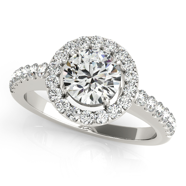 10K White Gold Round Halo Engagement Ring - This 10K white gold round halo engagement ring can accommodate a round diamond shape of 1.00 carats. Includes 32 diamonds weighing 0.51 carats total. Available in 10K, 14K, and 18K white, yellow, or rose gold, and platinum. Center diamond not included. Matching wedding band sold separately.
