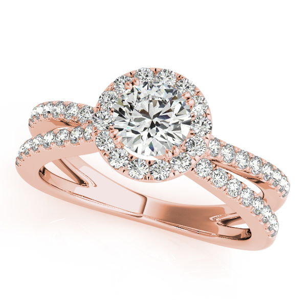 18K Rose Gold Round Halo Engagement Ring - This 18K rose gold round halo engagement ring can accommodate a round diamond shape of 0.50 carats. Includes 69 diamonds weighing 0.28 carats total. Available in 10K, 14K, and 18K white, yellow, or rose gold, and platinum. Center diamond not included. Matching wedding band sold separately.