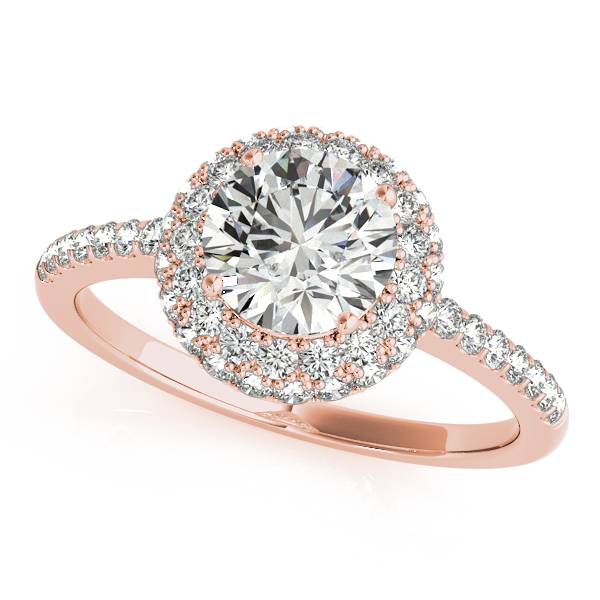 14K Rose Gold Round Halo Engagement Ring - This 14K rose gold round halo engagement ring can accommodate a round diamond shape of 1.00 carats. Includes 52 diamonds weighing 0.52 carats total. Available in 10K, 14K, and 18K white, yellow, or rose gold, and platinum. Center diamond not included. Matching wedding band sold separately.