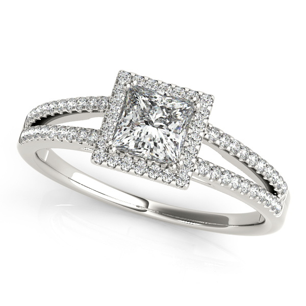 14K White Gold Halo Engagement Ring - This 14K white gold halo engagement ring can accommodate princess or cushion diamond shapes of 0.33 carats. Includes 60 diamonds weighing 0.18 carats total. Available in 10K, 14K, and 18K white, yellow, or rose gold, and platinum. Center diamond not included. Matching wedding band sold separately.