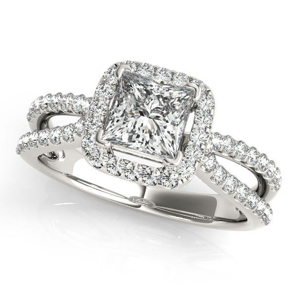10K White Gold Halo Engagement Ring - This 10K white gold halo engagement ring can accommodate princess or cushion diamond shapes of 0.50 carats. Includes 62 diamonds weighing 0.25 carats total. Available in 10K, 14K, and 18K white, yellow, or rose gold, and platinum. Center diamond not included. Matching wedding band sold separately.