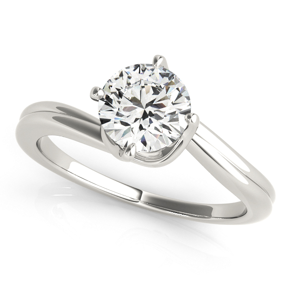 Platinum Round Solitaire Engagement Ring by Overnight